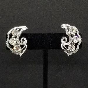 Rhinestone crystal crescent swirl clip-on earrings